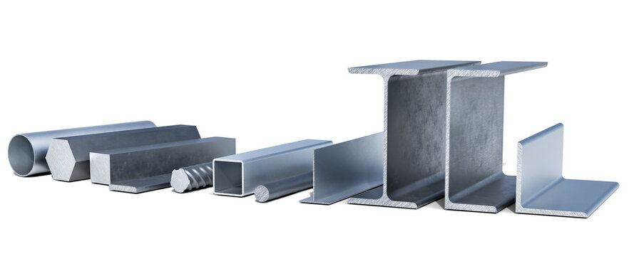 Lined up various aluminium and metal profiles, shapes and tubes, 3d illustration