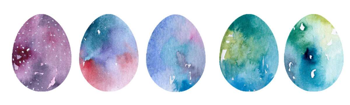 Watercolor easter eggs abstract modern illustrations Easter elements