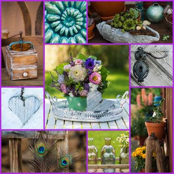 Collage from several garden photos