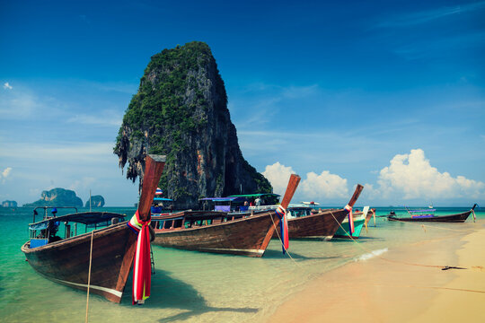 Long tail boat on beach, Thailand