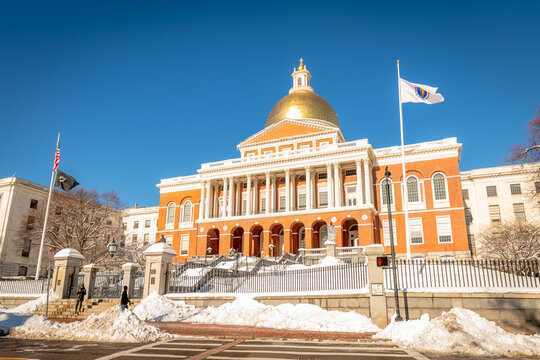 The Massachusetts State House atop Beacon Hill in Boston