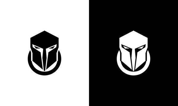 Knight helmet logo, spartan icon design, chinese warrior symbol, viking head illustration