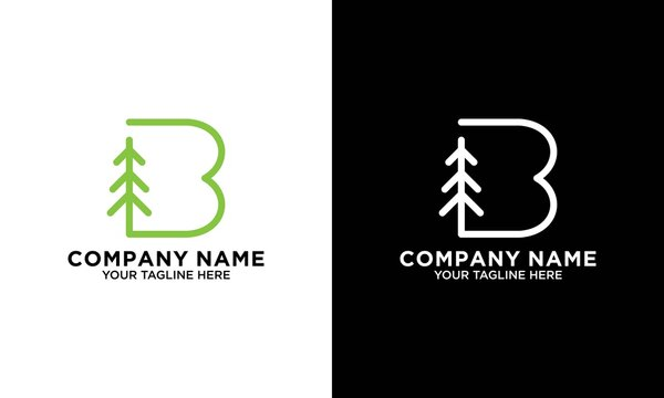Initial B with Pine tree logo Design inspiration vector icon illustration
