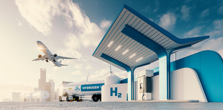 Future of hydrogen energy. Hydrogen gas station with truck, jet and city in the background. 3d rendering.