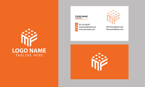 Cube MF letter logo. Property and Construction MF Logo design for business corporate sign with Creative Modern Trendy with a minimal business card