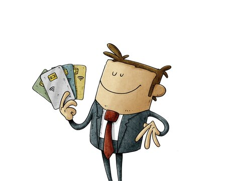happy businessman holds some chip credit cards in his hand. isolated