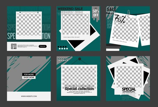 Editable post templates for social media ads and Web banner ads for your product promotion. with a modern Polaroid photo frame design. in emerald green, gray, white and black.