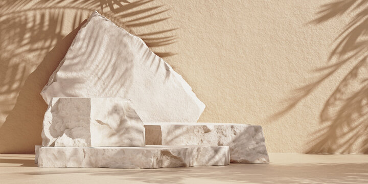 Minimal mockup with premium podium made of natural stone slabs and palm-leaf shadows on the brown wall. 3d rendering illustration.