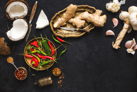 Asian ingredients: chillies, coconut, ginger, garlic