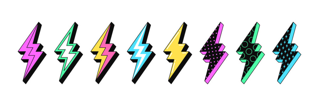 Isolated Lightning bolt signs. 5st set of flash thunderbolts with texture for zine retro culture