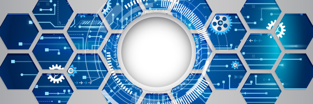 Abstract wide technology background with hexagons and gear wheels. Hi-tech circuit board vector illustration. Sci fi concept on the blue cover.