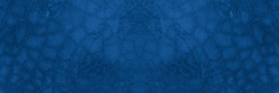Old wall pattern texture cement blue dark abstract  blue color design are light with black gradient background.