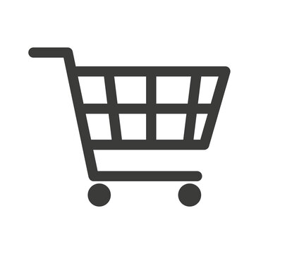 Shopping cart vector icon, flat design. Isolated on white background. Flat vector illustration.