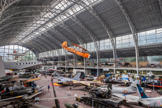 Vintage fighter airplanes at the Royal Museum of the Armed Forces and Military History in Brussels in June 2020.