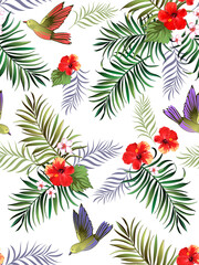 Tropical vector pattern with hibiscus, orchid, palm leaves.Exotic style. Seamless botanical print for textile, print, fabric on dark background.