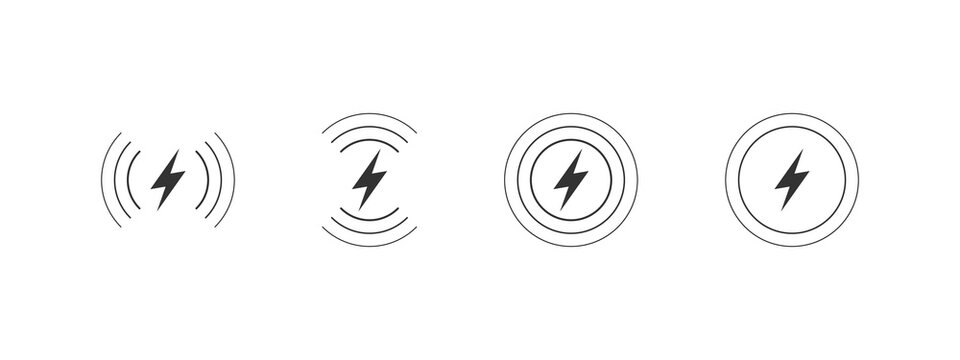Wireless Chargers icons. Lightning charging simple icons. Concept charging icons. Vector illustration