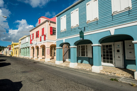 Historic buildings in downtown Christiansted, St. Croix, US Virgin Islands.