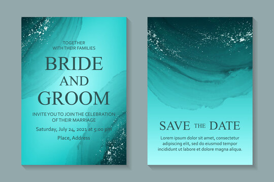 Modern abstract luxury wedding invitation design or card templates for birthday greeting or certificate or cover with turquoise watercolor waves or fluid art in alcohol ink style with silver glitter.