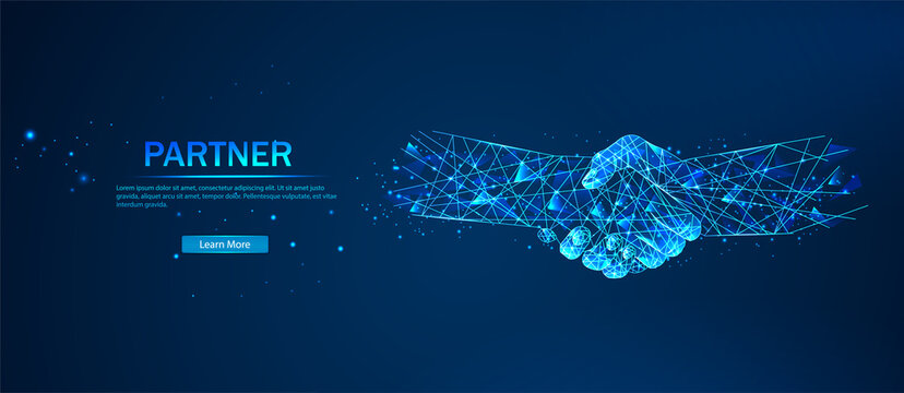 Partner. Business success concept. Polygonal wireframe composition. Technology and innovation in bussines. Abstract illustration isolated on a blue. Abstract handshake, business concept.