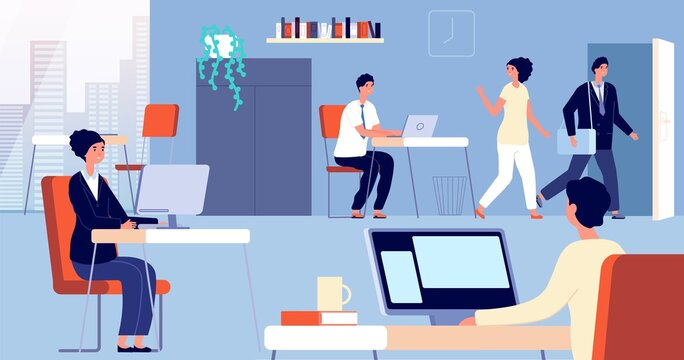People leave office. Employee open door, man woman going home from work. Flat managers leaving job, person go to exit utter vector concept. Worker office leave work to weekend illustration