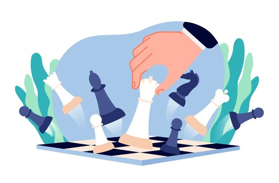 Chess business strategy. Businessman game, hand moves queen piece on board. Abstract mind thinking, career victory gambit vector concept. Illustration business chess strategy, businessman play in game