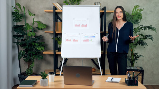Female coach trainer records online business webinar master class at home office. Beautiful woman teacher tutor stands near flip chart whiteboard tells talk speaks students remote video call chat
