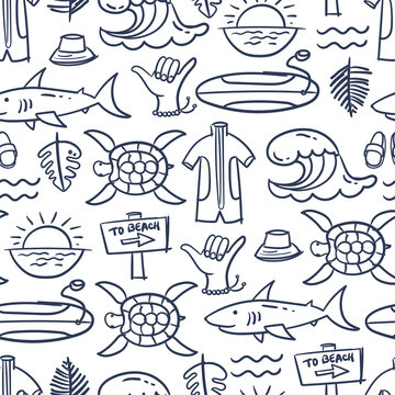 Vector pattern on the theme of summer, surfing, holidays, sea, beach, rest, hobby on white color. Cartoon hand drawn background for use in design