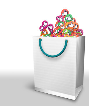 White paper bag full of colored circles with thumb up hand icon on white background. 3D Illustration