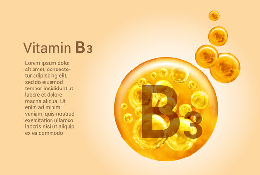 Vitamin B3. Baner with vector images of golden balls with oxygen bubbles. Health concept.