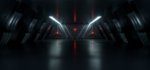 Sci Fi Alien Spaceship Tunnel Corridor Glowing Red White Cinematic Lights Shallow Focus Metal Construction Triangle Door Futuristic Background 3D Rendering