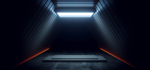 Fototapeta Dark Sci Fi Futuristic Cyber Stage Podium Neon Orange White Led Spotlight Glowing Triangle Modern Spaceship Tunnel Corridor Showroom Product Showcase Cinematic 3D Rendering