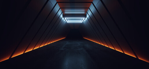 Dark Sci Fi Futuristic Cyber Stage Neon Orange White Led Spotlight Glowing Triangle Modern Spaceship Tunnel Corridor Showroom Product Showcase Underground Cinematic 3D Rendering