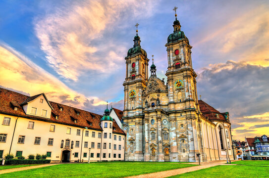The Cathedral of Saint Gall Abbey in St. Gallen. UNESCO world heritage in Switzerland