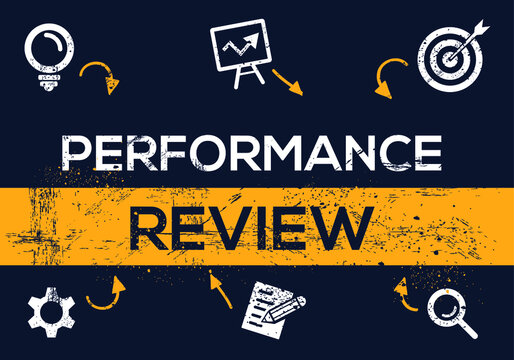 Creative (performance review) Banner Word with Icon ,Vector illustration.