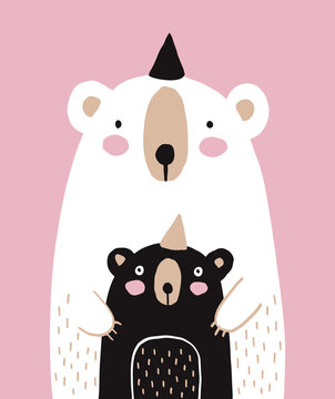 Cute White Big Bear with Little Black Baby Bear Isolated on a Light Pink Background. Nursery Vector Illustration with Funny Bears ideal for Poster, Wall Art, Mother's or Father's Day Card.