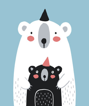 Cute White Big Bear with Little Black Baby Bear Isolated on a Light Blue Background. Nursery Vector Illustration with Funny Bears ideal for Poster, Wall Art, Mother's or Father's Day Card.