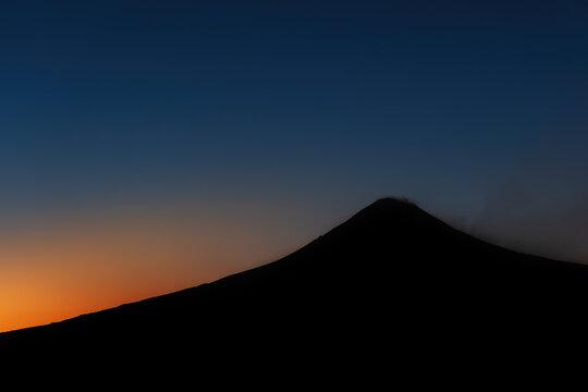 popocatepetl, sunset, crater backlight