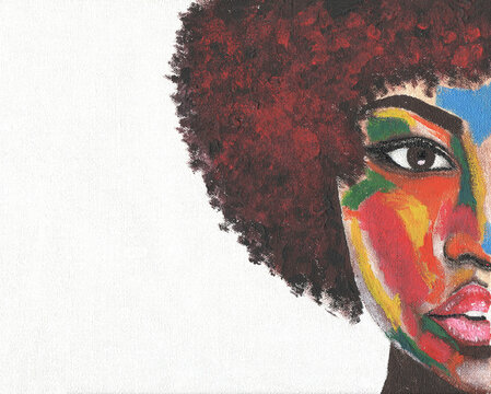 African american woman illustration. Acrylic painting. Template black lives matter