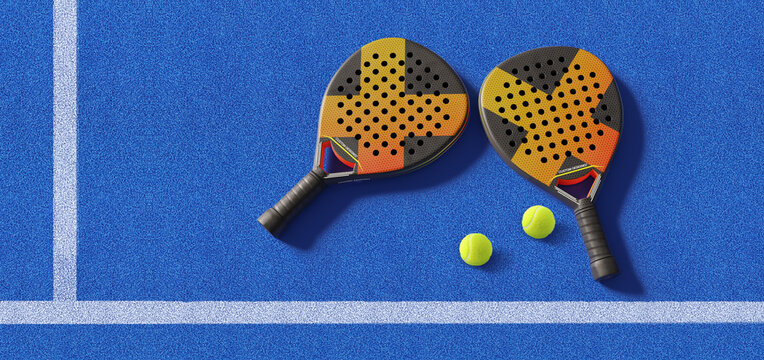 Close up of  padel balls and rackets on a blue syntehtic playground. 3D rendering