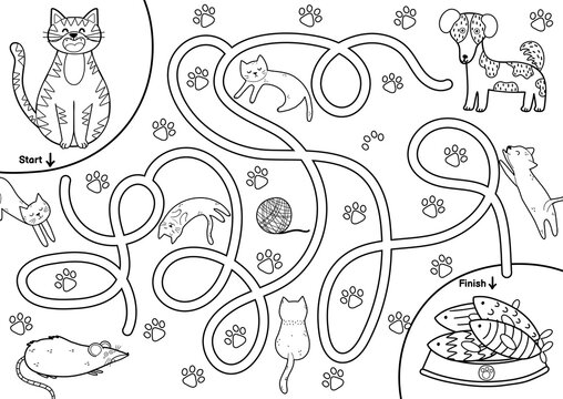 Black and white maze game for kids. Help the cute cat find the way to the fish. Printable labyrinth activity for children. Vector illustration
