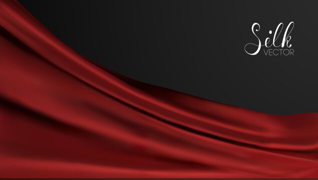 Red silk on black background. Luxury background template vector illustration. Award nomination design element. Red Fashion Background.