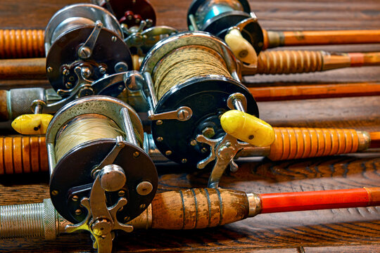 Vintage bamboo fishing rods and conventional reels
