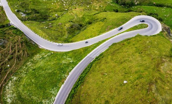 James Bond road, Furka pass, swiss Alps, Switzerland