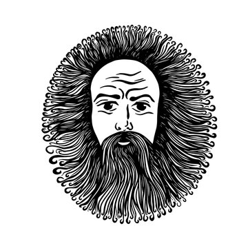 Graphic face of a bearded and long-haired man. Vector illustration