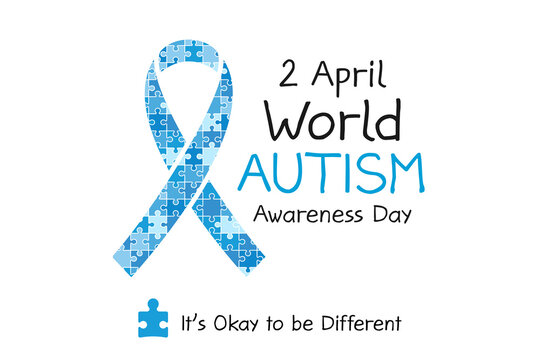 2 April World Autism awareness day banner. Symbol of autism. Design template for background, card, print, poster or brochure. Concept of healthcare awareness campaign for autism