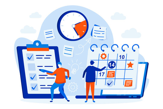 Business planning web design concept with people. Managers planning activities and tasks scene. Time management composition in flat style. Vector illustration for social media promotional materials.