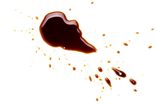 soy sauce drip isolated on a white background. soya sauce swirl cut out. above view. studio shot