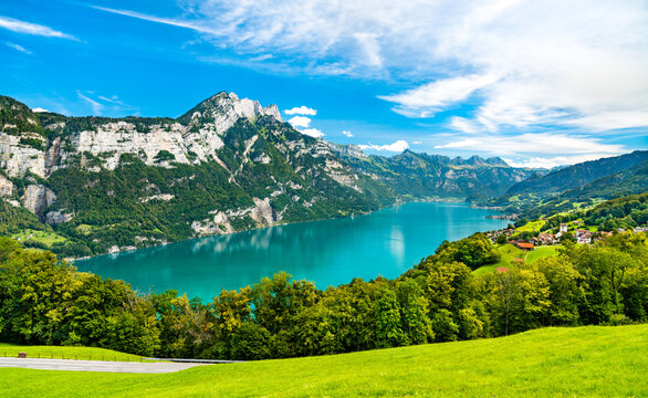 Landscape at Walensee Lake in Switzerland