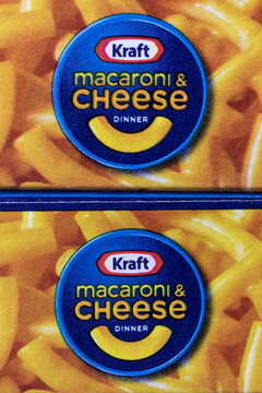 Indianapolis - Circa February 2021: Kraft Macaroni and Cheese display. Kraft sells one million boxes of Mac and Cheese a day.