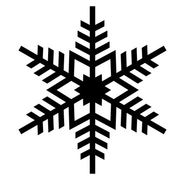 Vector element silhouette single Christmas snowflake snow